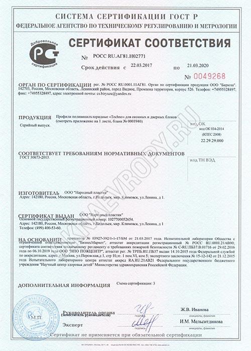 Сертификат соответствия Новотекс
